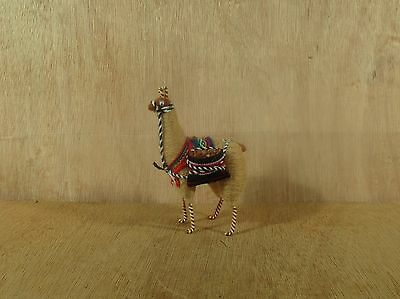 """Peru Llame Made for Carrying Packsack Made out of Llama Wool Figurine 5 1/2"""" H"""