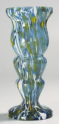 Czech Kralik - Spatter Glass Vase - Pale Blue with Yellow and White spatter
