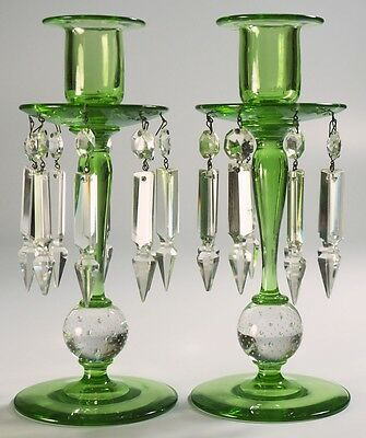 Pairpoint Controlled-Air Bubble Candlesticks with Prisms - green