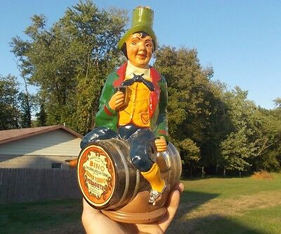 Figural Drinking Man On Barrel Hand Blown Bottle W/labels Vermouth Baltimore