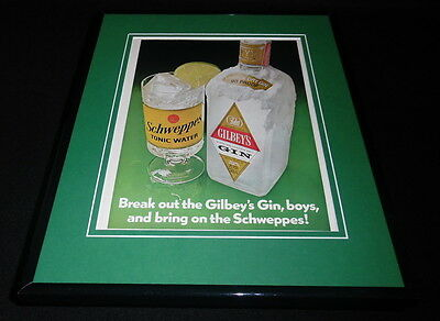 1972 Gilbey's Gin / Schweppes Framed 11x14 ORIGINAL Vintage Advertisement