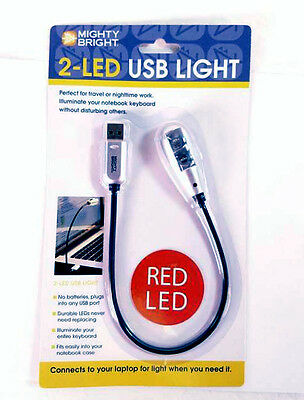 Mighty Bright 2-Red LED USB Music Light - Silver BRAND NEW QuinnTheEskimo