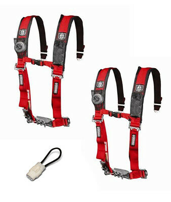 """PRO ARMOR 4 Point Harness 2/"""" Pads Seat Belt PAIR W// BYPASS RED RZR XP 1000 TURBO"""