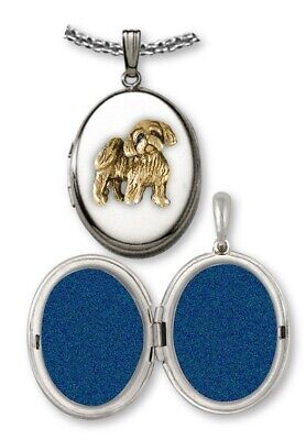Lhasa Apso Photo Locket Jewelry Sterling Silver And Gold Lhasa Apso Dog Photo Lo