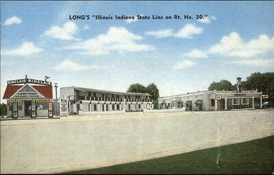 Sinclair Gas Station LONG'S Chicago Heights IL State Line Linen Postcard