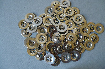 100 Vintage Steel Flat Buttons. 13mm. Diam. New Cond.