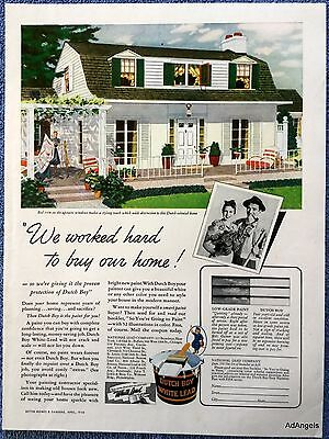 1940 Dutch Boy White Lead Paint Dutch Colonial Home Lading Table Cloth Table ad