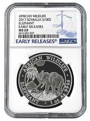 2017 Somalia 1oz Silver Elephant NGC MS69 - Early Releases - Blue Label