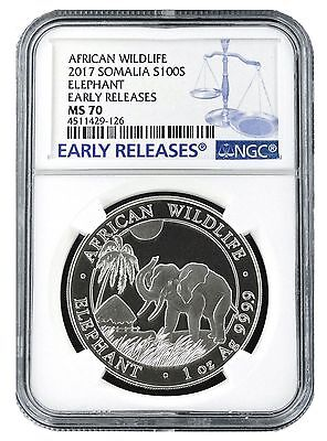 2017 Somalia 1oz Silver Elephant NGC MS70 - Early Releases - Blue Label