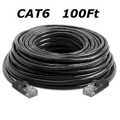 CAT6 100 FT BLACK RJ45 CAT6 Ethernet LAN Network Cable Patch Cord For Router