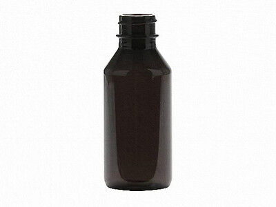 1 oz (30 ml) Dark Amber PET Plastic Bottles w/Screw-on Caps (Lot of 100)