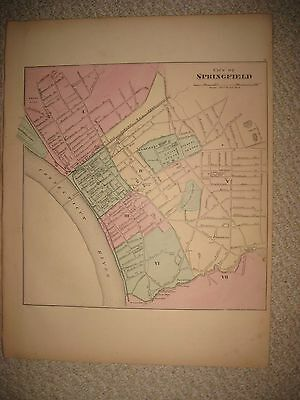 Gorgeous Antique 1871 Springfield Worcester Massachusetts Handcolor Map Detailed