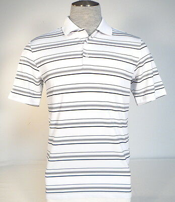 Adidas Golf PureMotion White & Black Stripe Short Sleeve Polo Shirt Mens NWT
