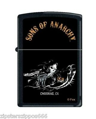 """Zippo """"sons Of Anarchy-Reaper"""" Black Matte Finish Lighter, 2939"""