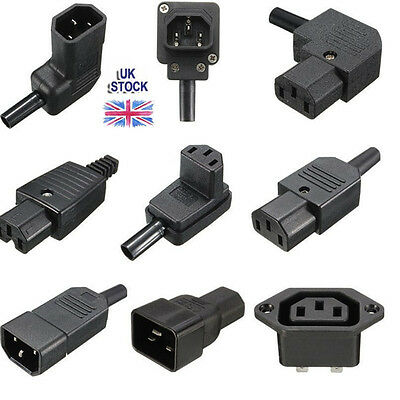 AC IEC C13 C14 Inline Chassis Socket Plug Rewireable Mains Power Connector UK