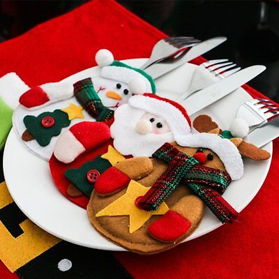 10x Christmas Kitchen Tableware Holder Pocket Dinner Cutlery Bag Xmas Decor Snow