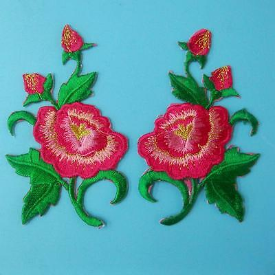 2 Rose Flower Iron on Sew Collar Patch Applique Badge Embroidered Motif Dress