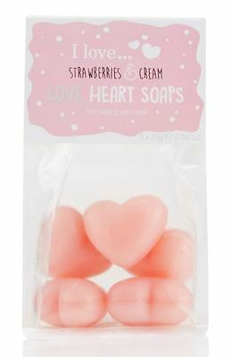 I Love... Strawberries & Cream Love Heart Shaped Bath and Body Soaps Gift Set
