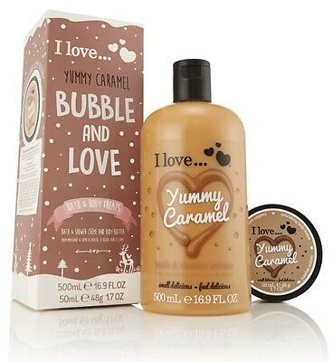 I Love… Yummy Caramel Bubble and Love Bath and Body Treat Gift Set