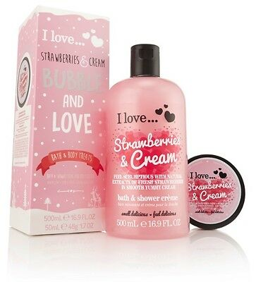I Love… Strawberries & Cream Bubble and Love Bath and Body Treat Gift Set