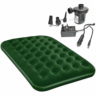 Double Or Single Green Airbed With Electric Air Pump 12v+240v Camping Guest Bed