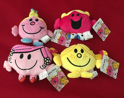 Set Of 4 Mr Men Little Miss Characters - 10 Cm Plush Toy Sunshine Princess Gift