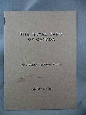 The Royal Bank Of Canada Officers' Pension Fund Rule Book 1909 RBC