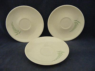 3 Franciscan Fern Dell Saucers Blue Green Ferns  Good Condition