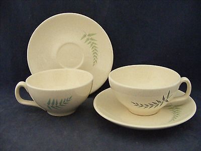 2 Franciscan Fern Dell Cup & Saucer Sets Blue Green Ferns