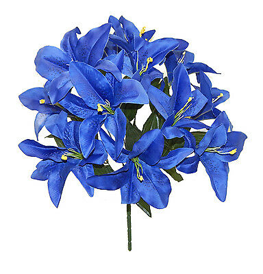 14 Tiger Lilies Lily ROYAL BLUE Silk Wedding Flowers Bridal Bouquets Decoration