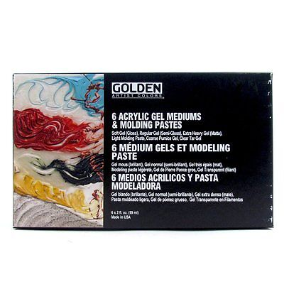 Golden Gels and Molding Paste Introductory Set 6 x 59ml. Artists Paint Mediums.