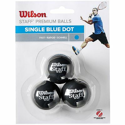Wilson Staff Fast Blue Dot WSF Approved Squash Balls - Pack of 3