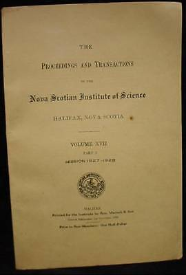 Nova Scotian Institute of Science 1927-28 Booklet Proceedings & Transactions NS