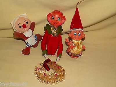 Knee Hugger Lot Ornament As Is Christmas Wreath Flocked Dwarf Pipe Cleaner