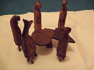 Used but Good  5 Sitting Wooden Animals and Table
