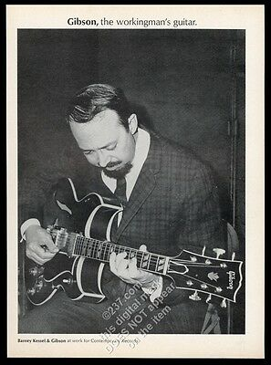 1967 Gibson electric guitar Barney Kessel photo vintage print ad