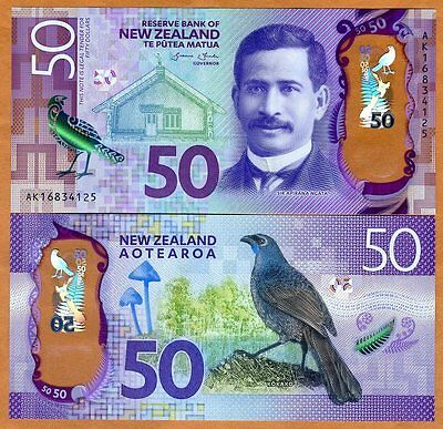 New Zealand, $50, 2016, Polymer, P-New, Redesigned, UNC