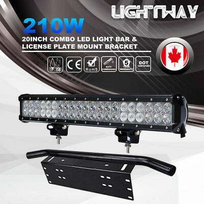 """20"""" Inch 210W PHILIPS LED Light Bar SPOT FLOOD Driving Lamp Plate Frame SUV JEEP"""
