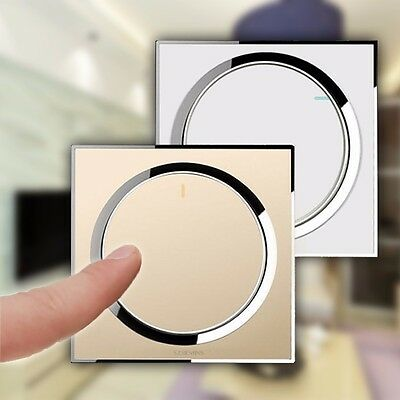 1 Gang 1 Way Home Wall Light Button Scree Switch White Acrylic Panel 100-250V