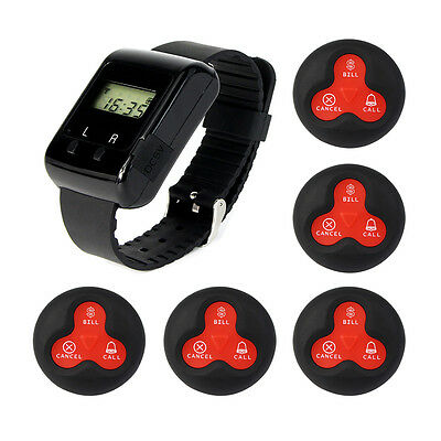 New Wireless Calling Paging System w/ Wrist Receiver +5* Call Transmitter Button