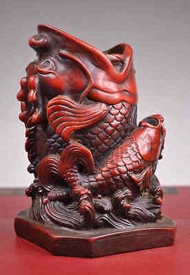 Rare Old Collectibles Handwork Resin & Wood Carving Dragon Fish Brush Pot