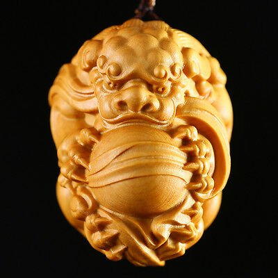 "JP094 - About 1.5"" Carved Boxwood Carving Netsuke : Pi Xiu Baby Dragon"