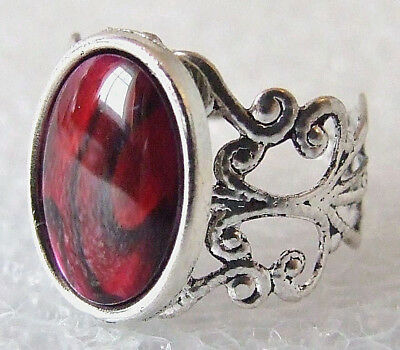 Genuine Rare Red Paua (Abalone) Shell Adjustable Ring Size L-T in Gift Box