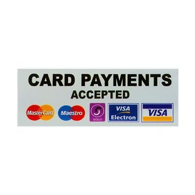 CARD PAYMENTS ACCEPTED -  Taxi Window Sticker Credit/Debit Cards Accepted