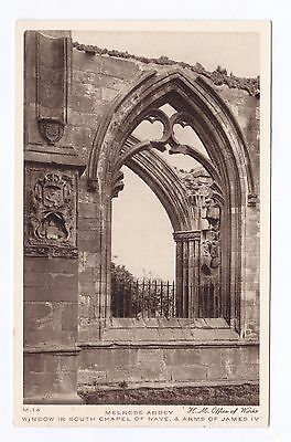 P2833 Original old postcard of Window, Melrose Abbey