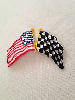 Checkered Flag American Flag 🇺🇸 Embroidered Patch With Adhesive Iron On Back