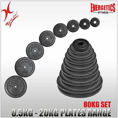Total 80Kg Cast Iron Weight Plate Set - Energetics Weight Plates Set