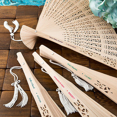 100 - Personalized Carved Personalized Sandalwood Fan - Beach Wedding Favor