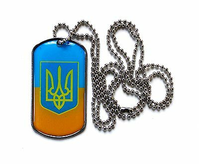 Ukrainian Army National Flag Tryzub Trident Coat of Arms Pendant