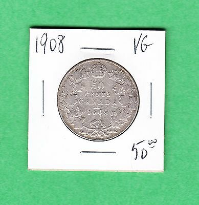 1908 Canada - Fifty Cents - Very Good - 50 Cents Coin